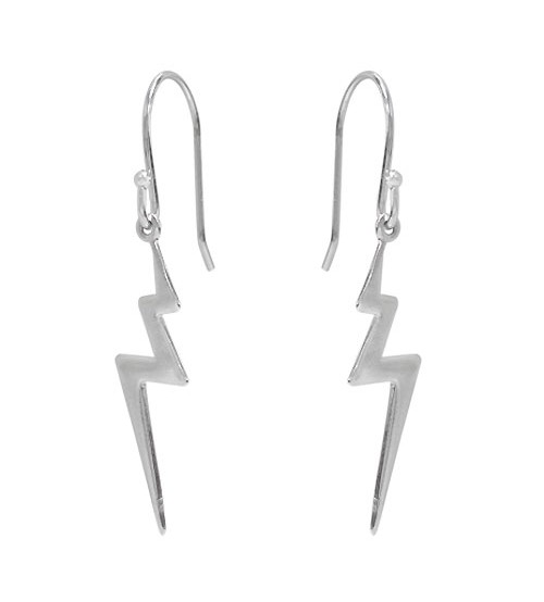 Lightning Bolt Dangle Earrings, Sterling Silver
