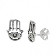 Evil Eye Stud Earrings, Sterling Silver