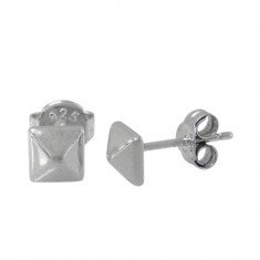 4-Sided Pyramid Stud Earrings, Sterling Silver