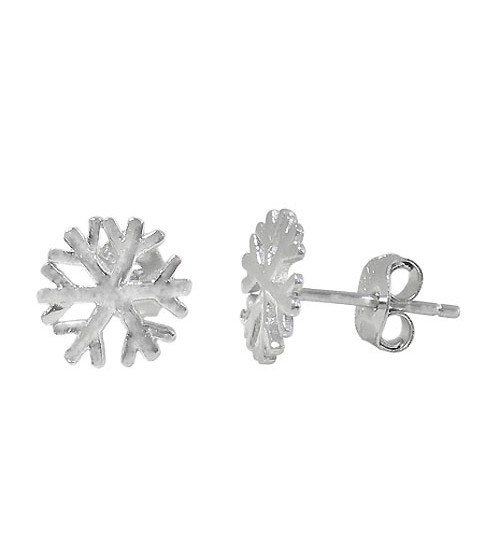 Snowflake Stud Earrings, Sterling Silver