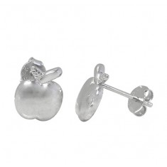 Apple Stud Earrings, Sterling Silver