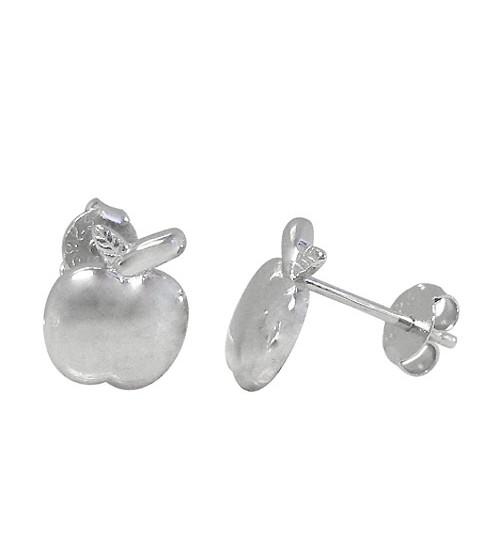 Apple Stud Earrings, Sterling Silver