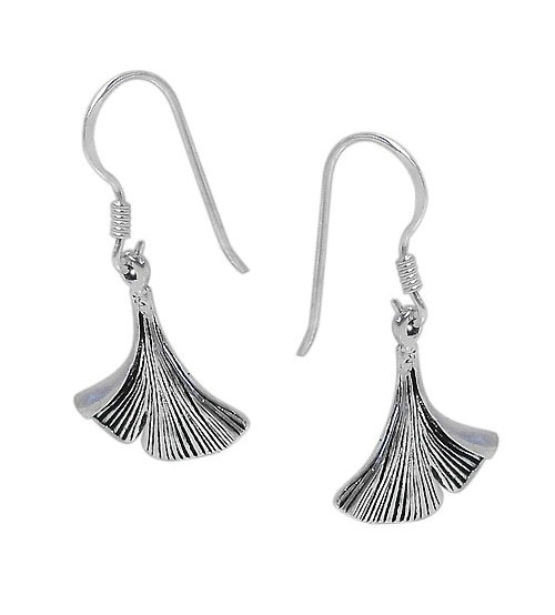 Fan Shaped Dangle Earrings, Sterling Silver