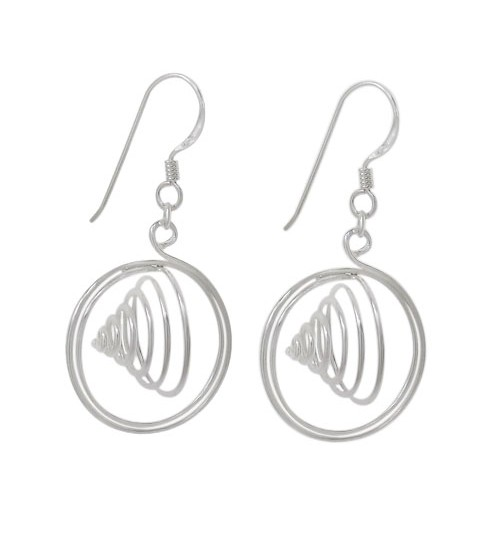 Fancy Spiral Dangle Earrings, Sterling Silver