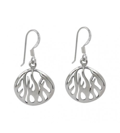 Oval Flame Dangle Earrings, Sterling Silver