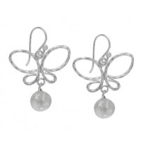 Butterfly Earrings with 8mm Ball, Sterling Silver