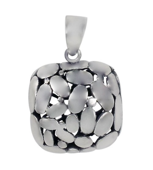 Smooth Square Pendant with Pebble Design, Sterling Silver