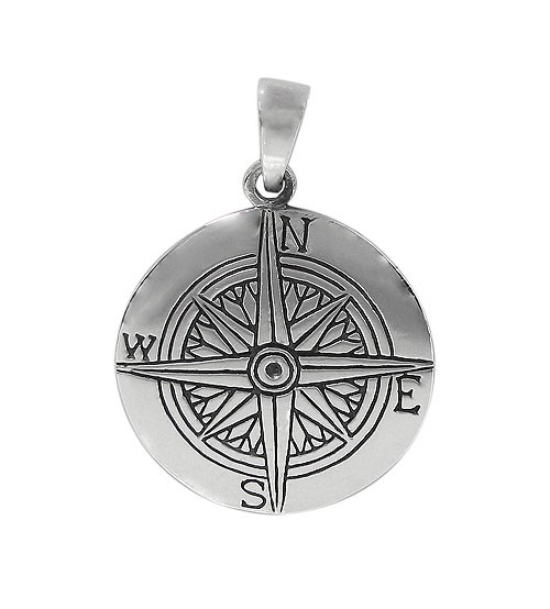 Flat Compass Pendant, Sterling Silver