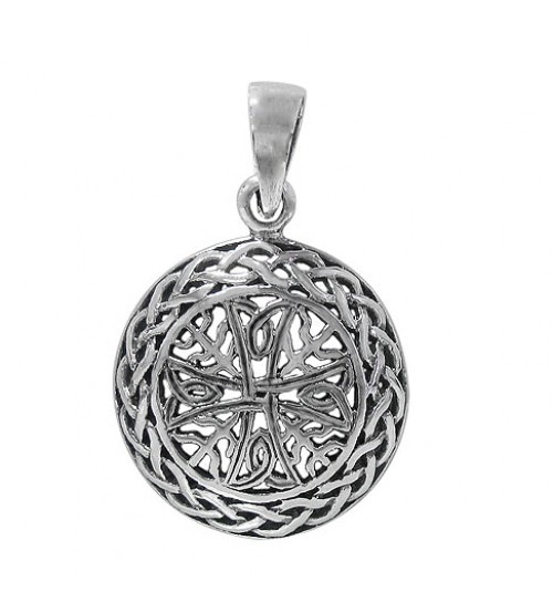 Filligree Pendant with Curved Frame, Sterling Silver