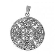 Round Filligree Design Pendant, Sterling Silver