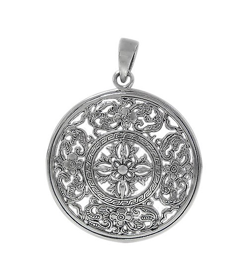 Round Filligree Design Pendant, Sterling Silver