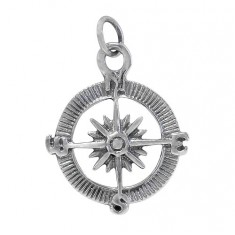 Compass Pendant, Sterling Silver