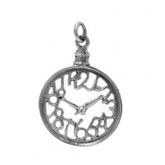 Clock Pendant, Sterling Silver