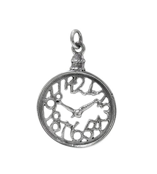 Clock Pendant, Sterling Silver