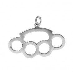 Brass Knuckle Pendant, Sterling Silver