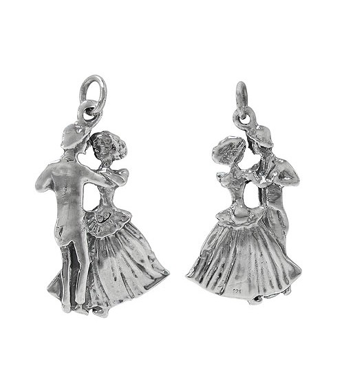 Dancing Couple Pendant, Sterling Silver