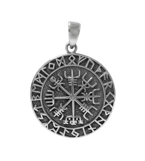 Viking Vegvisir Compass Pendant, Sterling Silver
