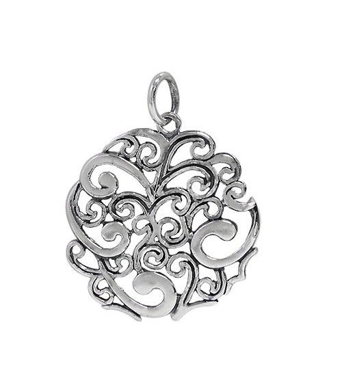 Filligree Style Pendant, Sterling Silver