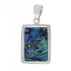 Rectangular Abalone Pendant, Sterling Silver