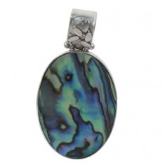 Oval Abalone Pendant, Sterling Silver