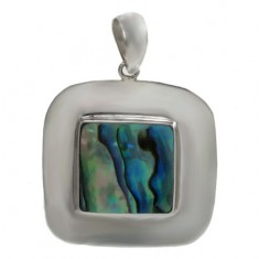 Square Abalone Pendant, Sterling Silver