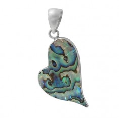 Heart Abalone Pendant, Sterling Silver