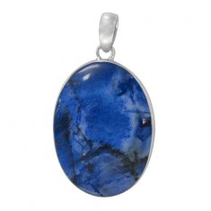 Oval Blue Agate Pendant, Sterling Silver