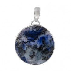 Round Blue Agate Pendant, Sterling Silver