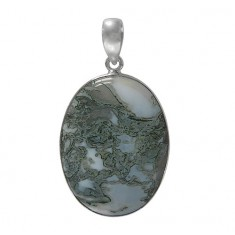 Oval Crazy Lace Agate Pendant, Sterling Silver