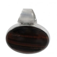 Oval Red Tiger Eye Agate Pendant, Sterling Silver