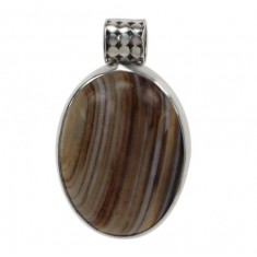 Oval Brown Banded Agate Pendant, Sterling Silver