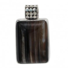 Rectangular Brown Banded Agate Pendant, Sterling Silver