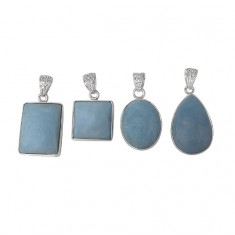 Free Form Blue Agate Pendant, Sterling Silver