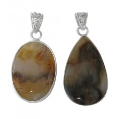 Free Form Petrified Wood Agate Pendant, Sterling Silver
