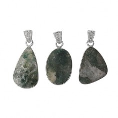 Free Form Moss Agate Pendant, Sterling Silver