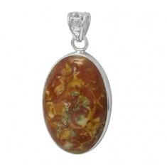 Oval Moss Agate Pendant, Sterling Silver