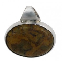 Oval Laced Agate Pendant, Sterling Silver