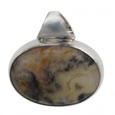 Oval Light Laced Agate Pendant, Sterling Silver