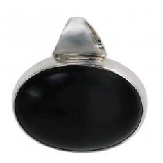 Oval Obsidian Pendant, Sterling Silver