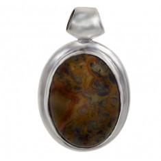 Oval Green Opal Agate Pendant, Sterling Silver