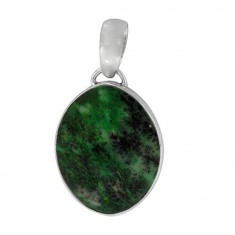 Oval Green Agate Pendant, Sterling Silver