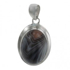 Oval Botswana Agate Pendant, Sterling Silver
