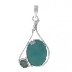 Multi Oval Amazonite Pendant, Sterling Silver