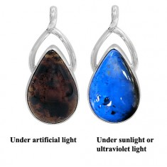 Free Form Indonesian Blue Amber Pendant, Sterling Silver