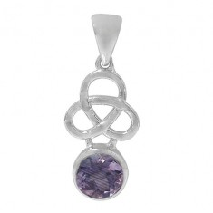 Round Amethyst Pendant, Sterling Silver