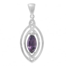 Marquise Amethyst Pendant, Sterling Silver