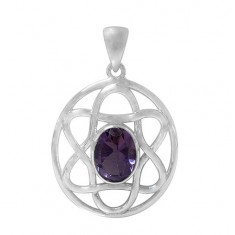 Oval Amethyst Pendant, Sterling Silver