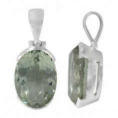 Oval Green Amethyst Pendant, Sterling Silver