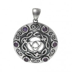 Round Celtic Knot Amethyst Pendant, Sterling Silver