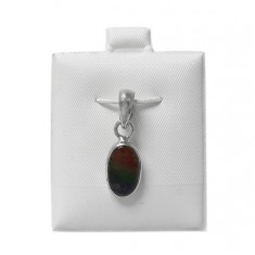Oval Ammolite Pendant, Sterling Silver